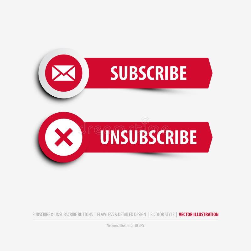 Prenumerera och unsubscribe knappar stock illustrationer