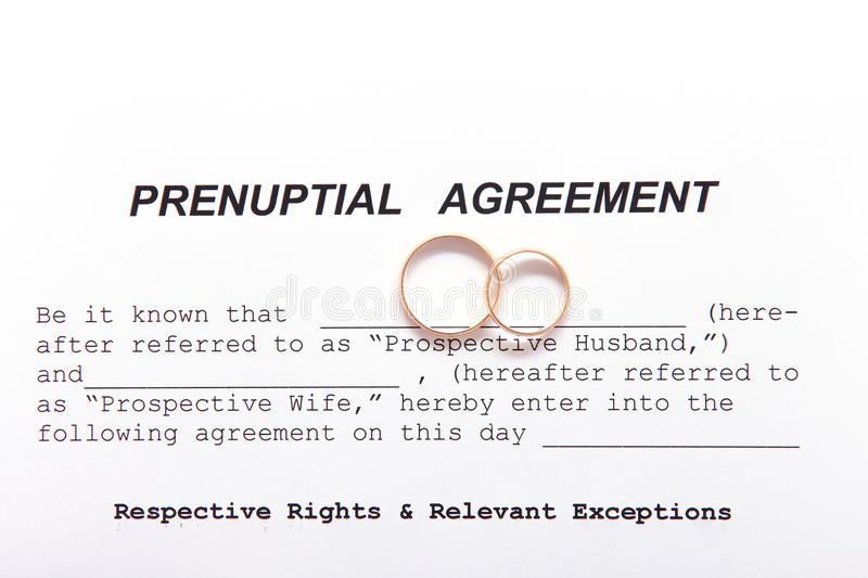Prenuptial Agreement Form And Two Wedding Rings Stock Image  Image