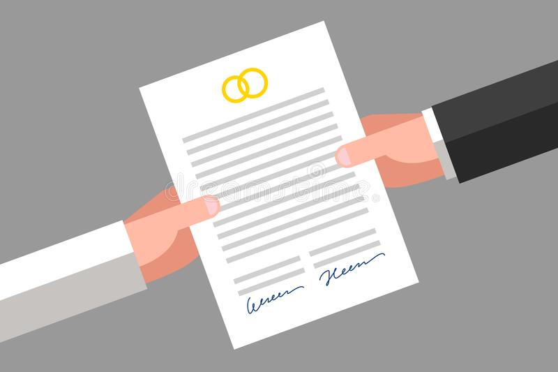 Prenuptial agreement signed by husband and wife. Prenuptial agreement in husband and wife hands. Family and law concept stock illustration