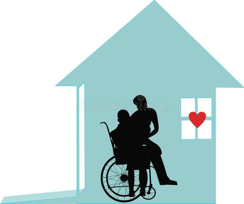 Preoccupandosi a case degli anziani illustrazione vettoriale