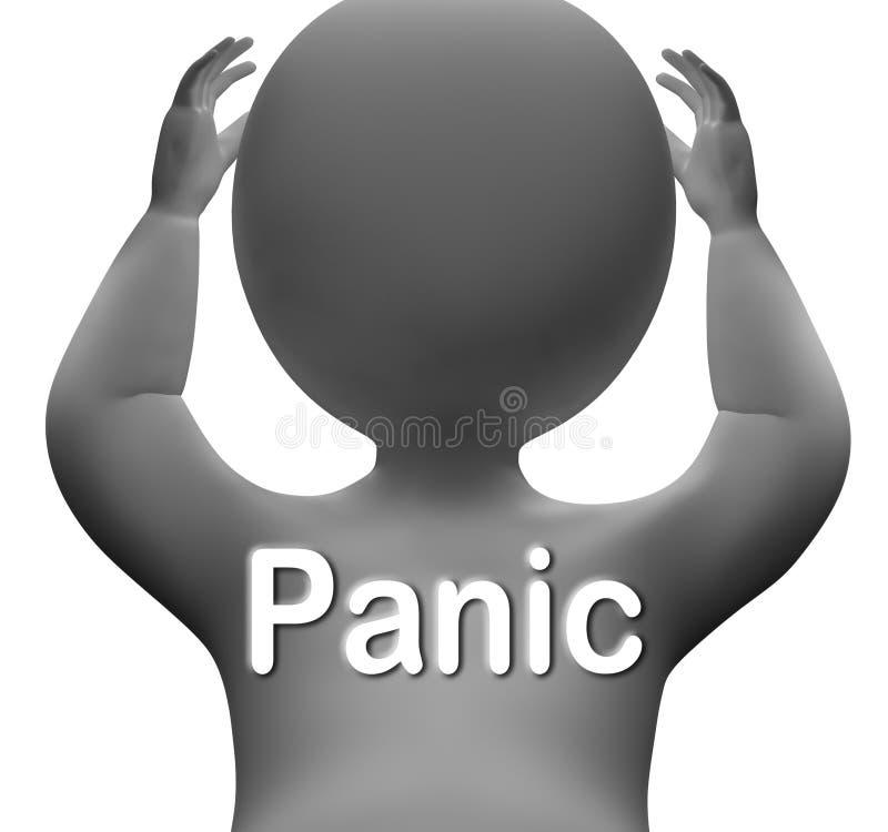 Preocupação e aflição do medo dos meios do caráter do pânico ilustração do vetor