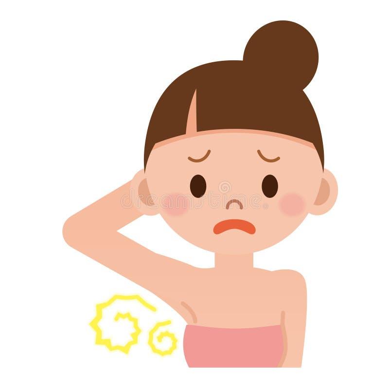 Preocupación de las mujeres sobre olor corporal libre illustration
