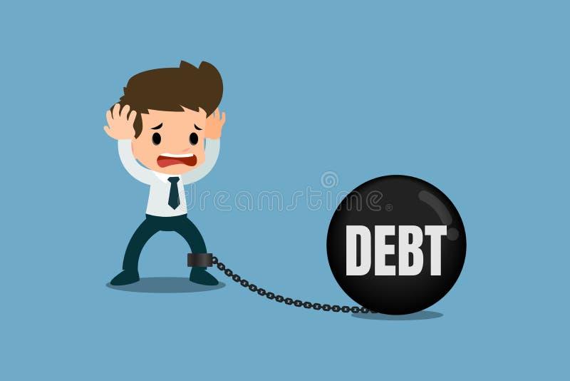 Preocupación subrayada de los hombres de negocios por deuda Él mirada del ` s como él encadenó con la bola de metal de la deuda y ilustración del vector