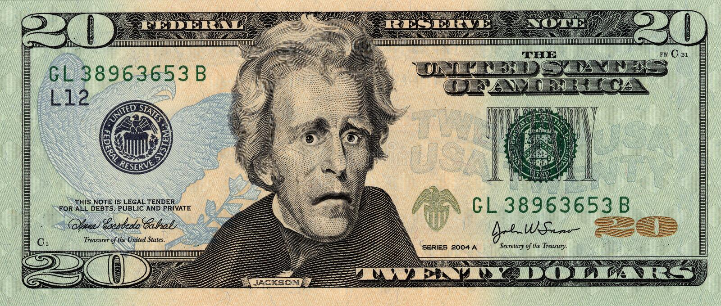 Preocupado vinte dólares Bill imagens de stock