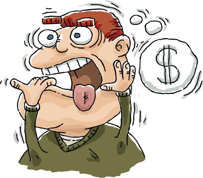 Preocupou-se sobre o dinheiro ilustração stock