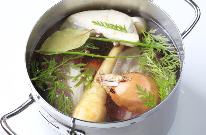Preparação da sopa fotografia de stock