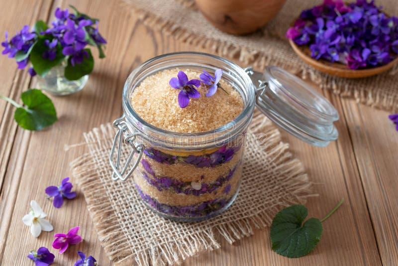 Preparação do xarope caseiro das flores violetas frescas fotografia de stock royalty free
