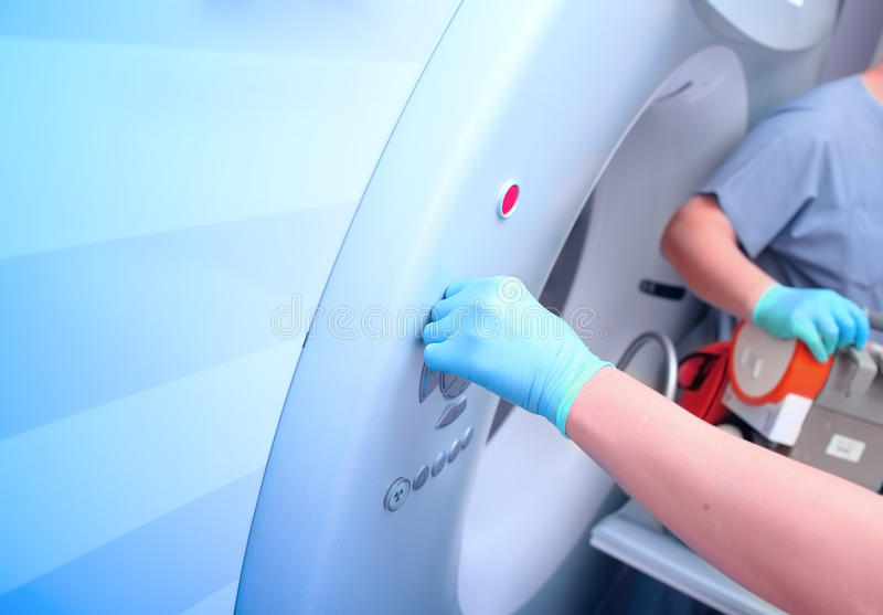 Preparação para exames do CT dos pacientes imagens de stock