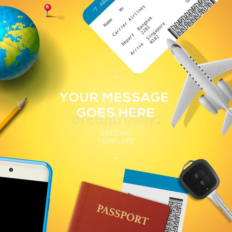Preparação para o curso, telefone, bilhete, passaporte ilustração do vetor