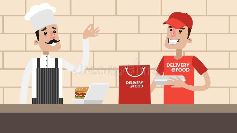 Preparación de la comida de la entrega stock de ilustración
