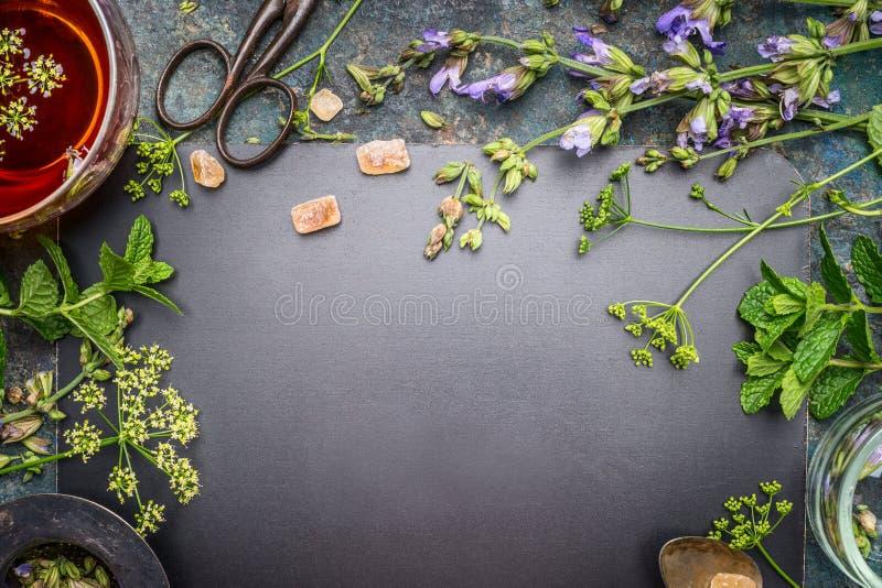 Preparación de la infusión de hierbas con las hierbas y las flores frescas en el fondo negro de la pizarra, visión superior imagen de archivo libre de regalías