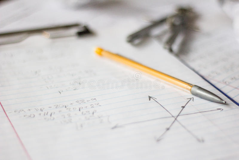 Preparación de la matemáticas y de la álgebra foto de archivo