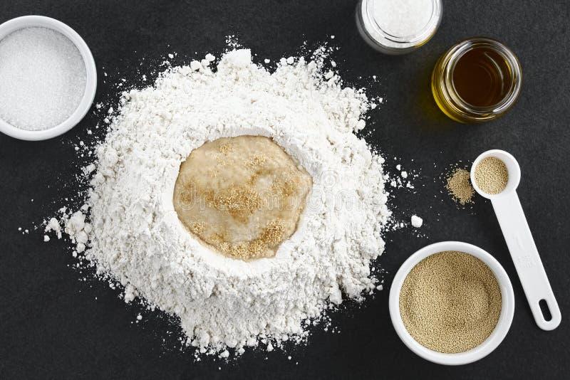 Preparación de la pasta de levadura para la pizza o el pan imágenes de archivo libres de regalías