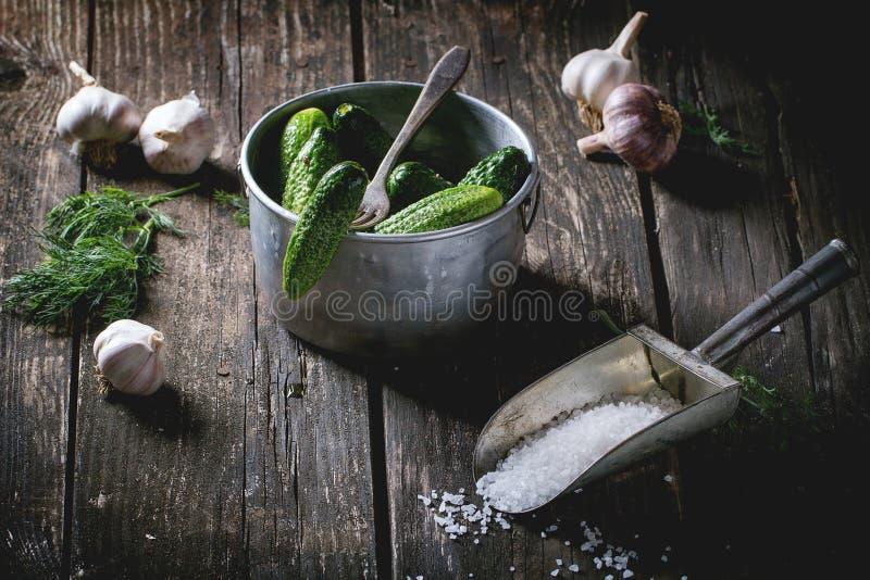 Preparación de pepinos conservados en vinagre bajos en sal foto de archivo libre de regalías
