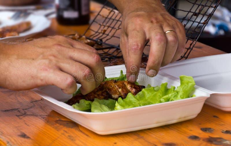 Preparación del alimento de pescados foto de archivo libre de regalías