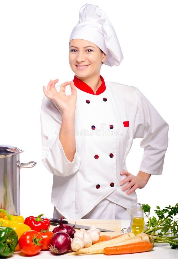 Preparación femenina hermosa cocinar foto de archivo