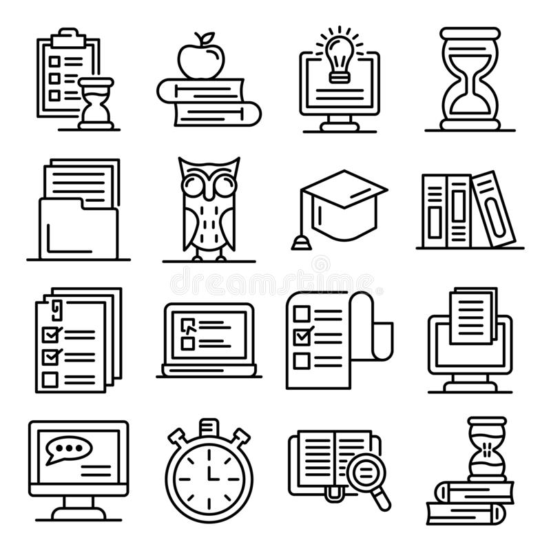 Preparación para el sistema de los iconos de los exámenes, estilo del esquema libre illustration