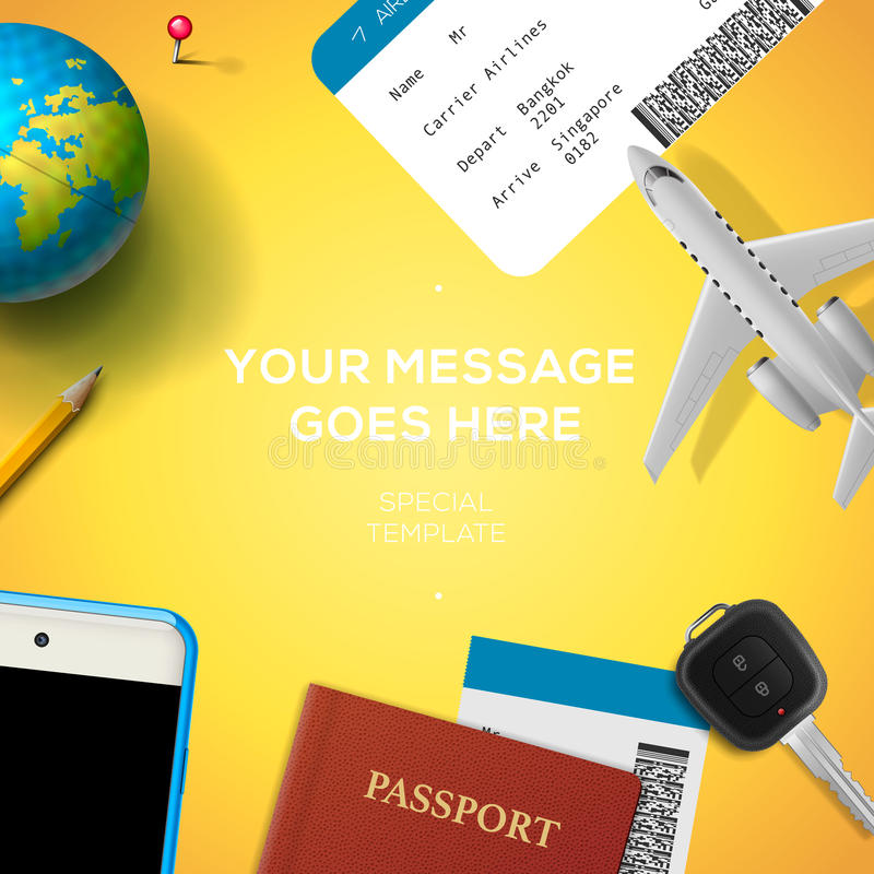 Preparación para el viaje, teléfono, boleto, pasaporte ilustración del vector
