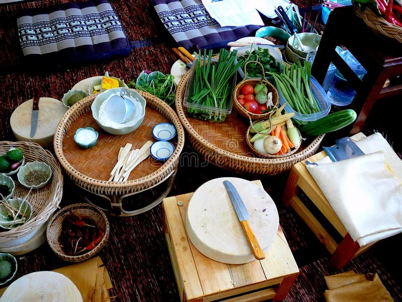 Preparación tailandesa de la clase de cocina imagen de archivo