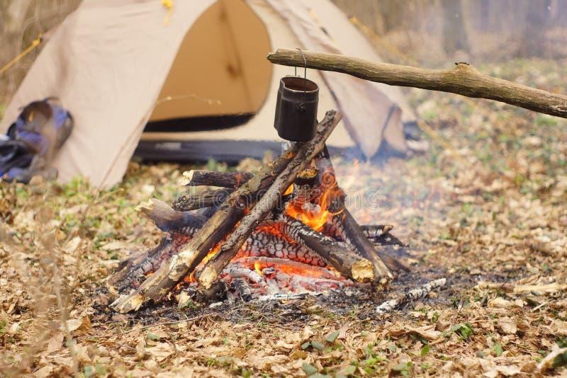Preparando la comida en hoguera en acampar salvaje como foto de archivo libre de regalías