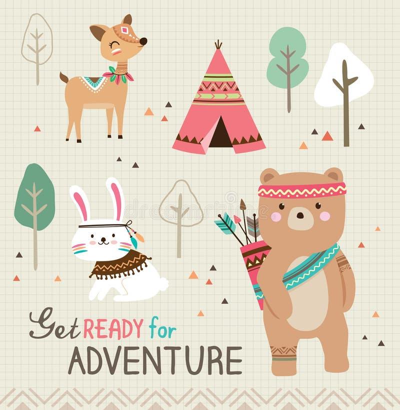 Preparar-se para a aventura ilustração royalty free