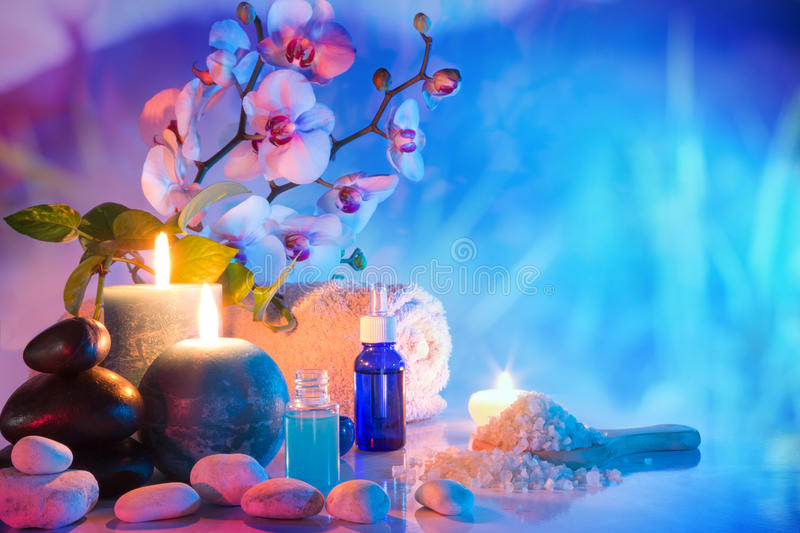 Preparation for bath massage in garden stock photography
