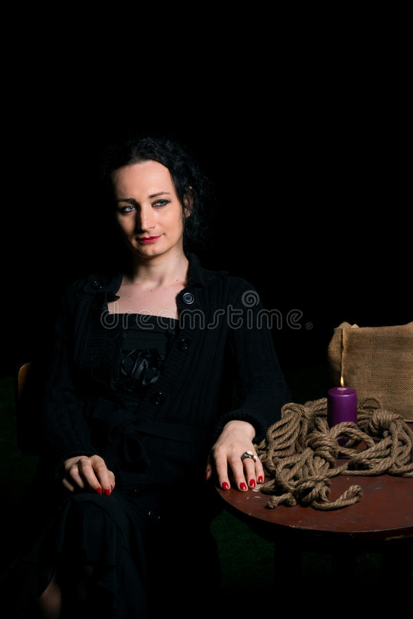 Preparation for bondage session with a transsexual person. Portrait of transsexual person preparing for a bondage session stock photos