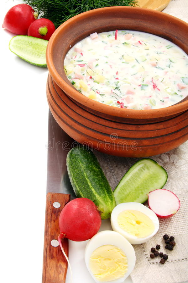 Download Preparation Of A Cold Soup With Kefir. Stock Photo - Image: 24668446