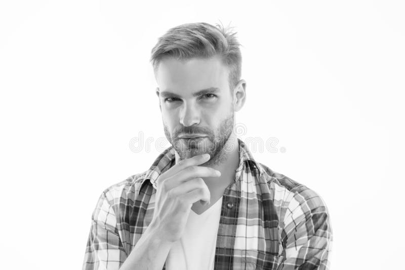 Preparation for comfortable trimming. Perfect bristle trimming tips. Barber hairdresser and self care. Male fashion and royalty free stock photography