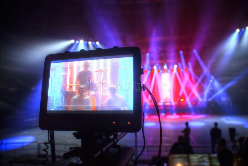 Preparation for a concert. Technical preparation for the big concert indoors. Backstage stock image