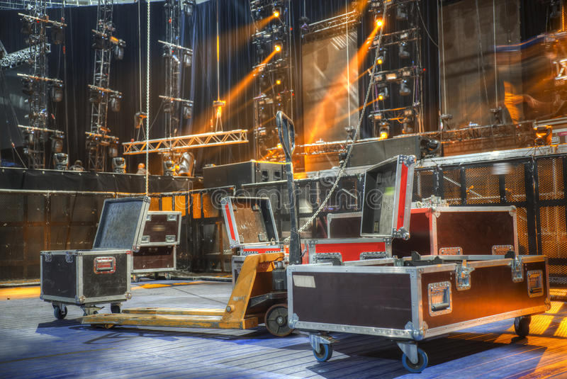 Preparation for a concert. Technical preparation for the big concert indoors. Backstage royalty free stock images