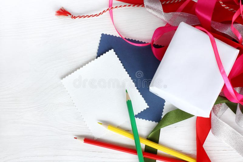 Preparation for congratulations. Items for gift decoration with your own hands view from above royalty free stock image