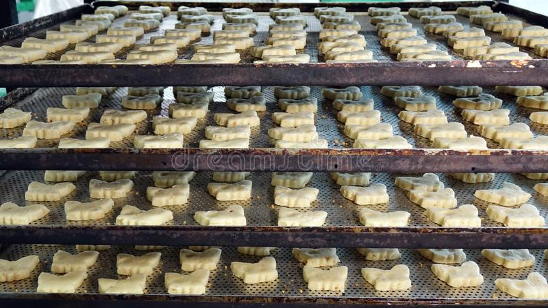 Preparation of cookies for baking. Cooking process in the kitchen.  royalty free stock images