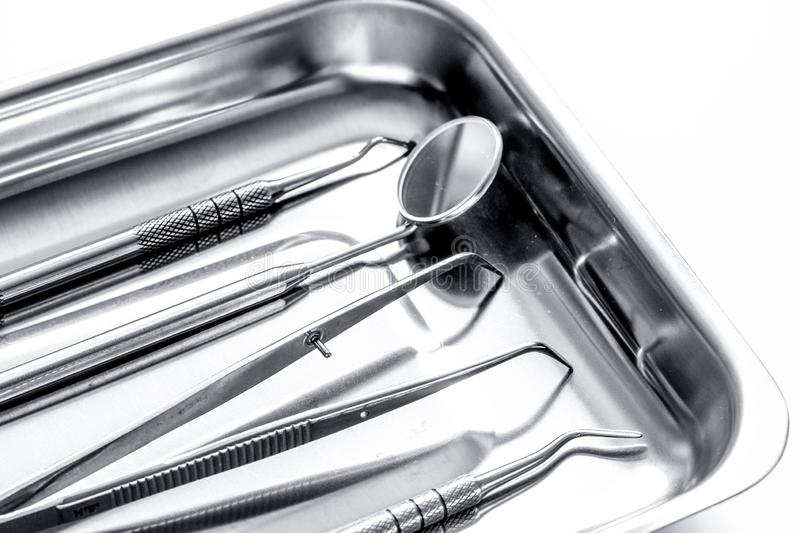 Preparation of dental instruments before work royalty free stock images