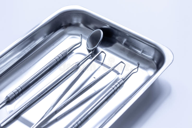 Preparation of dental instruments before work. Close up stock photo