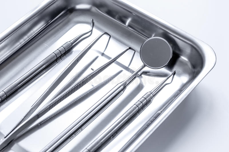 Preparation of dental instruments before work. Close up royalty free stock images