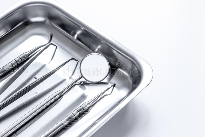 Preparation of dental instruments before work stock photo