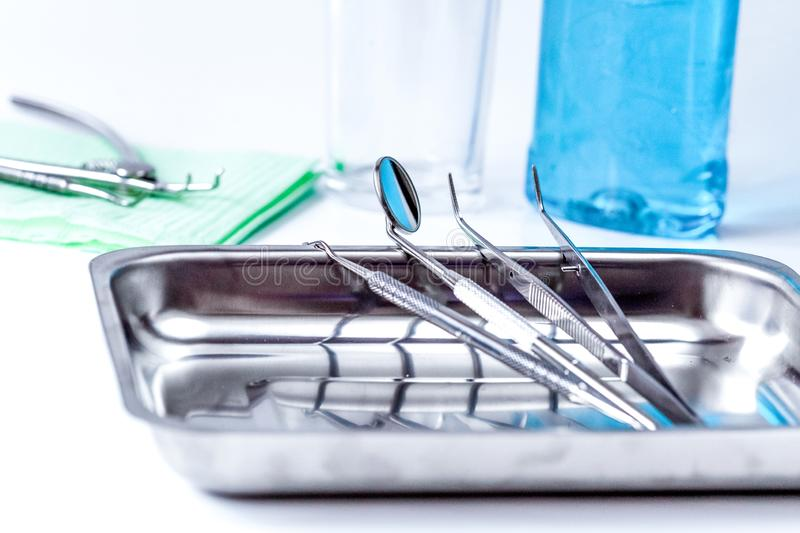 Preparation of dental instruments before work royalty free stock image