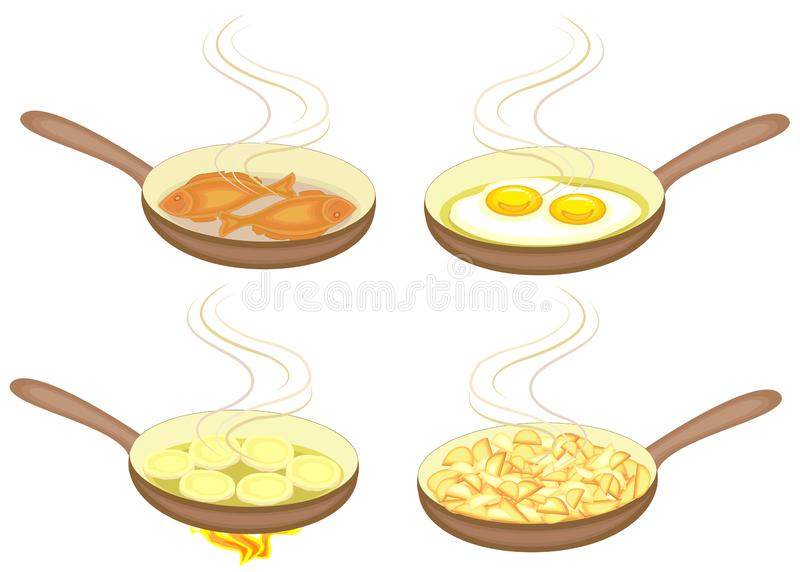 Preparation of dishes in a frying pan. Eggs, potatoes, pancakes, fish are fried. Tasty and nutritious food. A collection of. Pictures. Vector illustration royalty free illustration