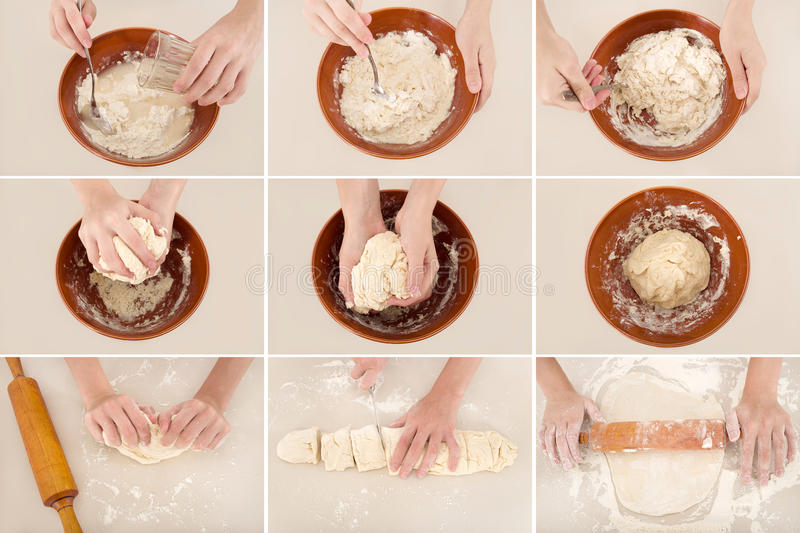 Preparation of dough royalty free stock photography