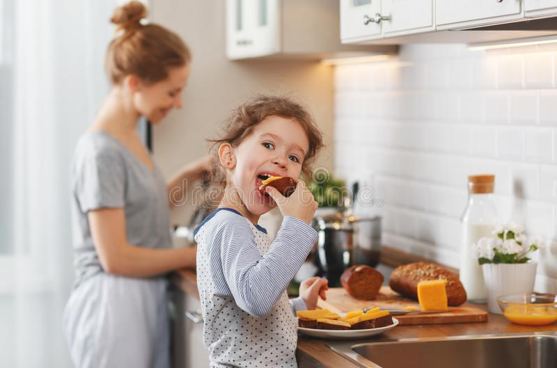 Preparation of family breakfast. mother and child daughter cook. Preparation of a family breakfast. mother and child daughter cook porridge in morning stock photo