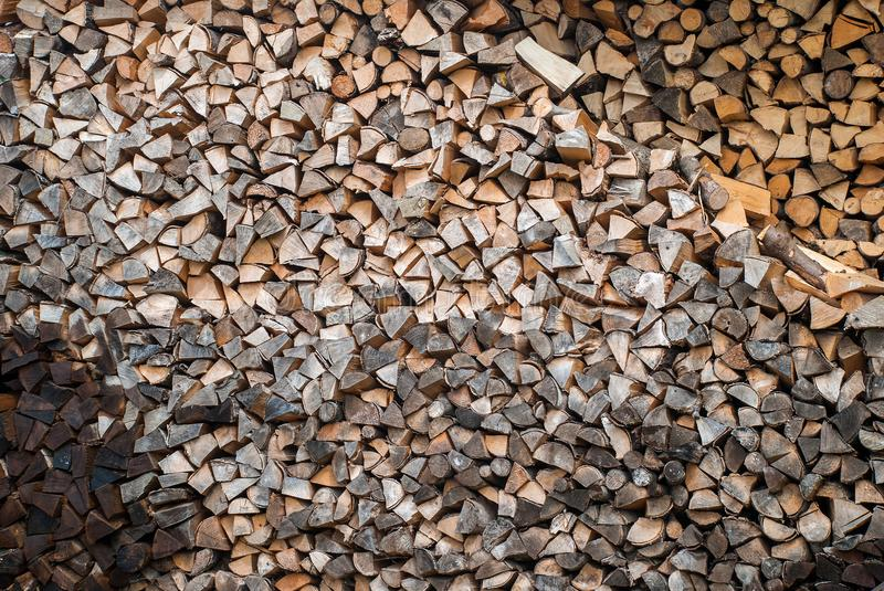 Preparation of firewood for the winter royalty free stock images