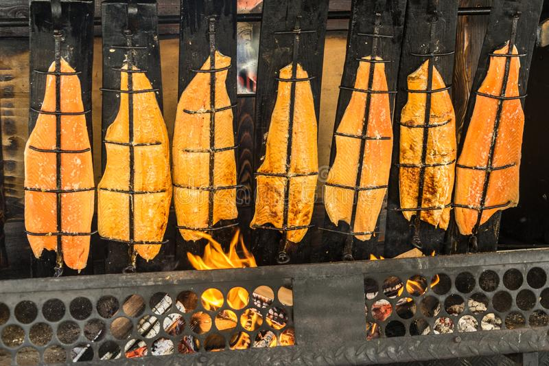 Preparation of flame salmon over the open fire of an open fireplace loaded with wood. Germany royalty free stock image