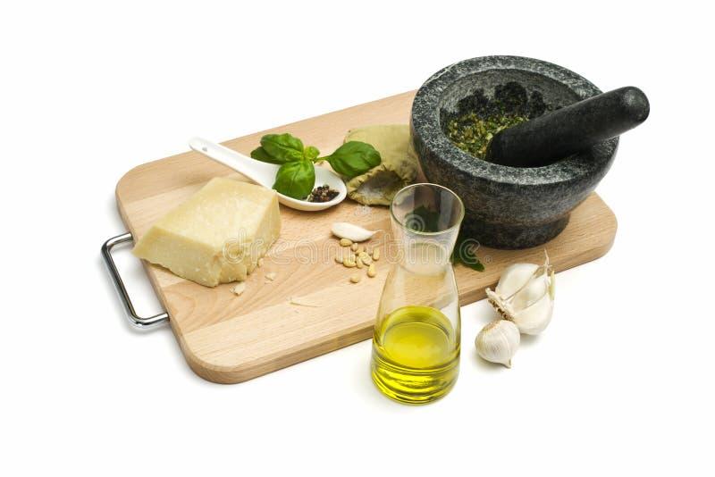 Preparation of green pesto sauce stock image
