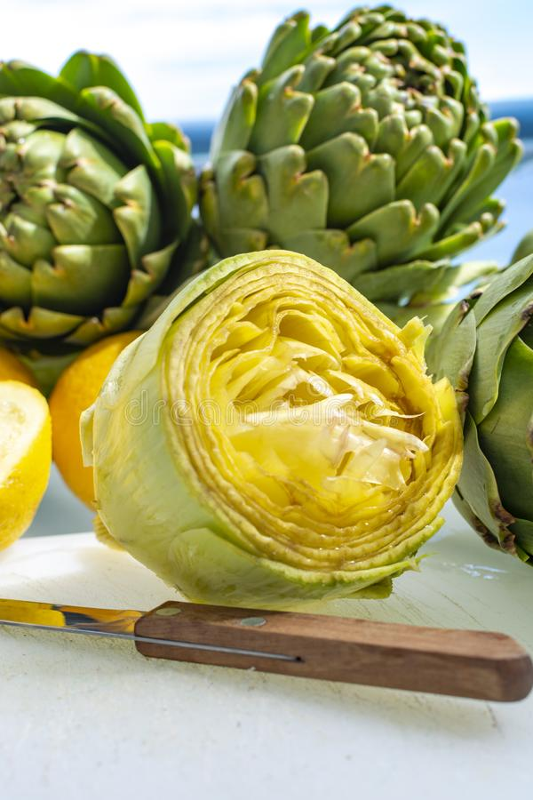 Preparation of heads of fresh raw artichokes plants from artichoke plantation in Argolida, Greece ready to cook with lemon. Preparation of heads of fresh raw royalty free stock photography