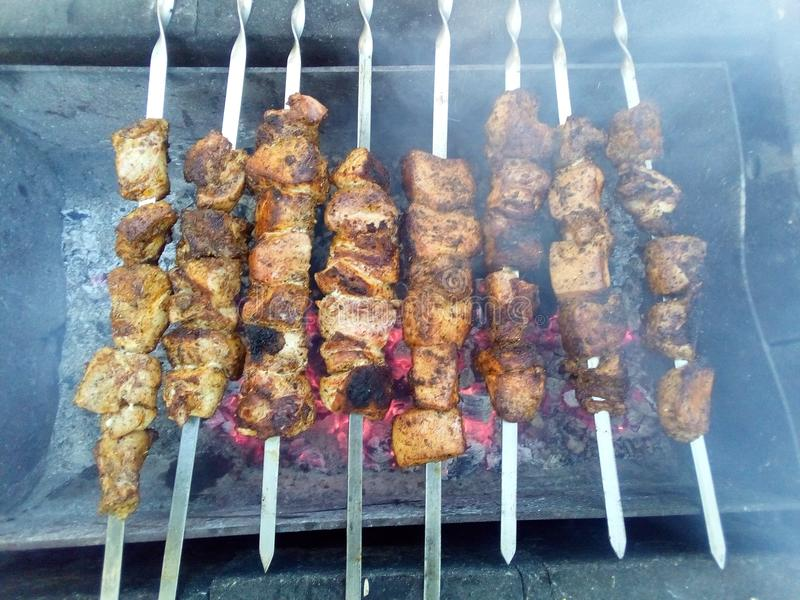 Preparation of meat on charcoal on skewers. The meat is marinated in spices, with the smell of haze. Camping, appetite, picnic, open-air food in the fresh air stock images