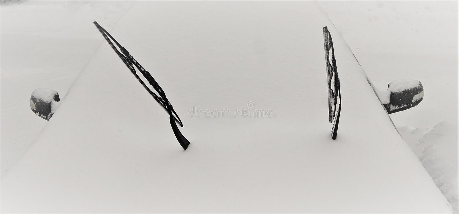 Windshield wipers preparation for Northeast Winter Storm royalty free stock photos