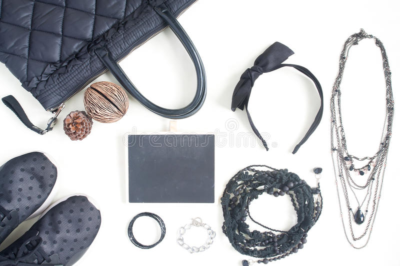 Preparation for party, night life, fashion mock up of beauty items,scarf,sneaker shoes on white background. Flat lay, top view stock photos