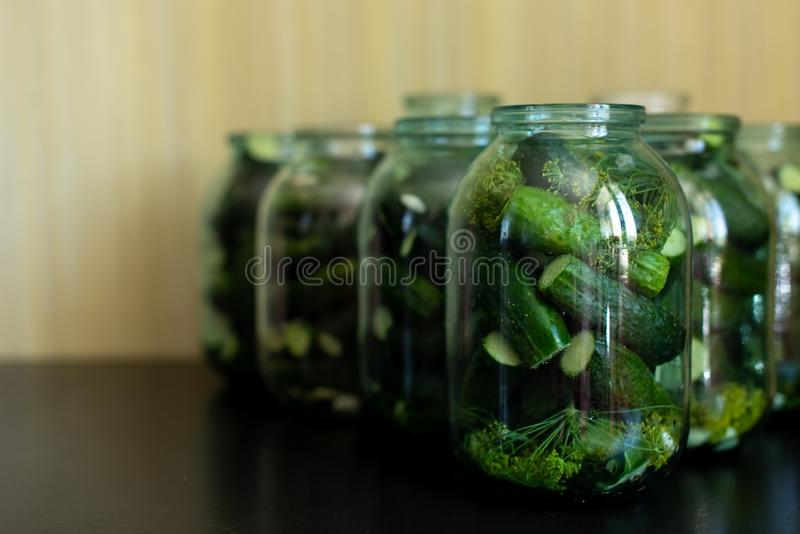Preparation for pickling cucumbers. Preservation. Selective focus.  royalty free stock photography