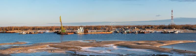 Preparation of river vessels for winter in Yakutsk, Sakha Republic stock image